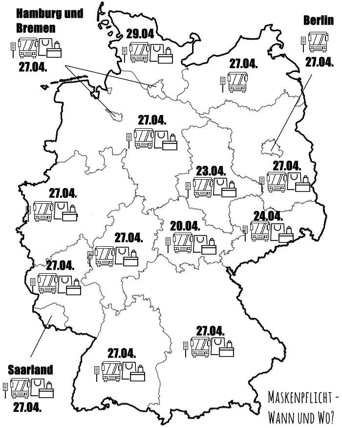 Die Deutschlandkarte zeigt, wo die Maskenpflicht in Deutschland gilt.